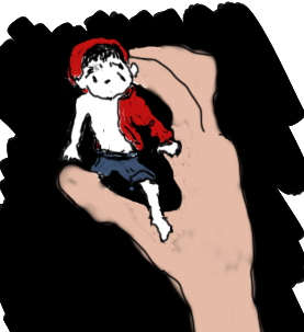 Drawing of Simon in hand