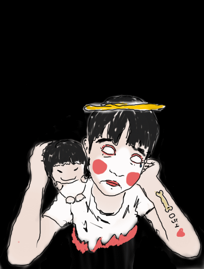 Drawing of sad little boy with halo, a clown face, blank eyes, an evil doll, and tattoos
