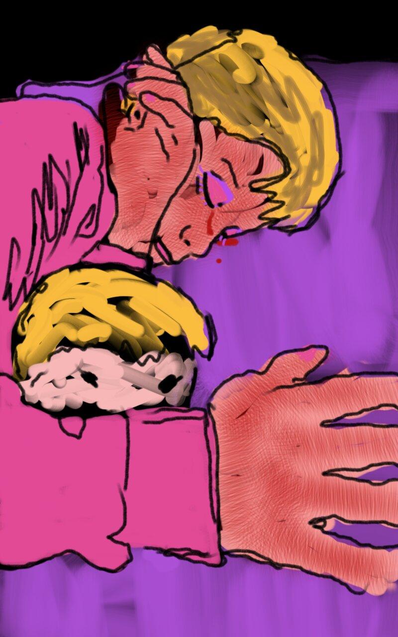 Digital artwork of little boy sleeping with a doll