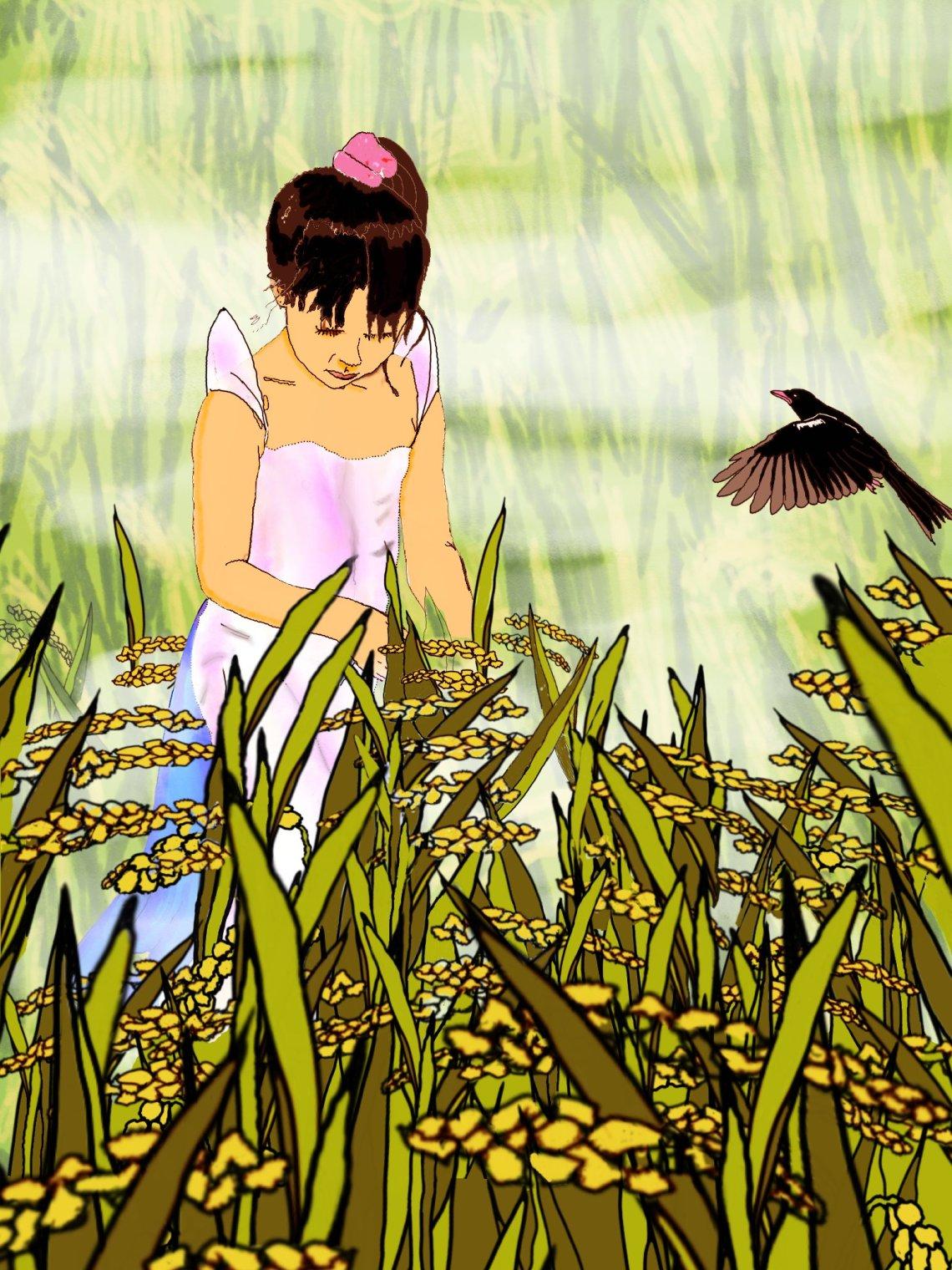 Digital drawing of Filipino rice girl and bird