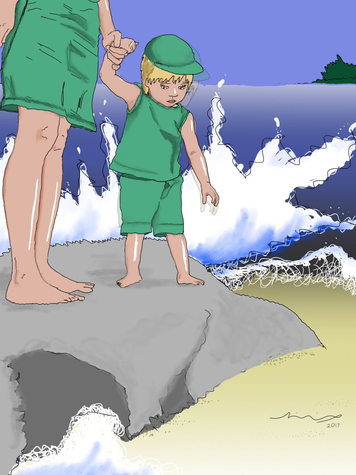 Drawing of little boy and mother on a rock at the beach