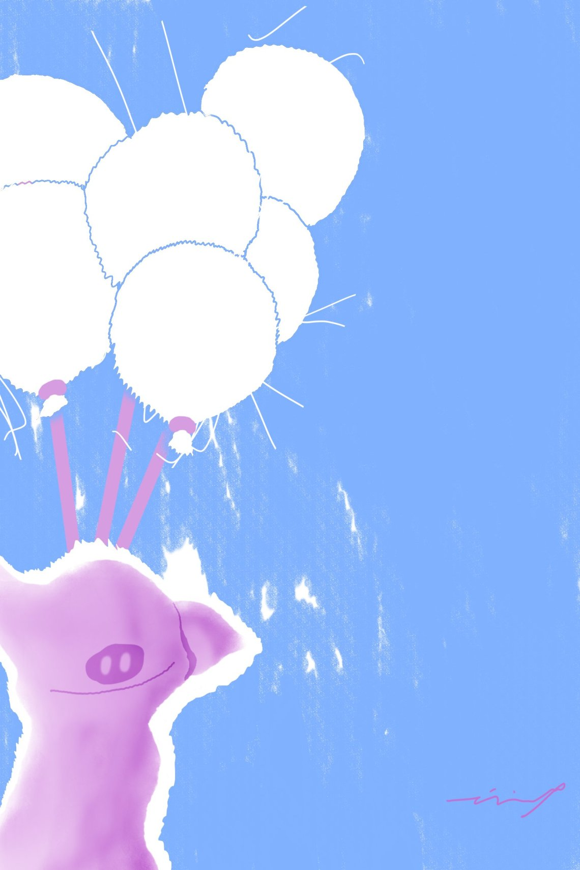 Abstract digital art of smiling pig and balloons