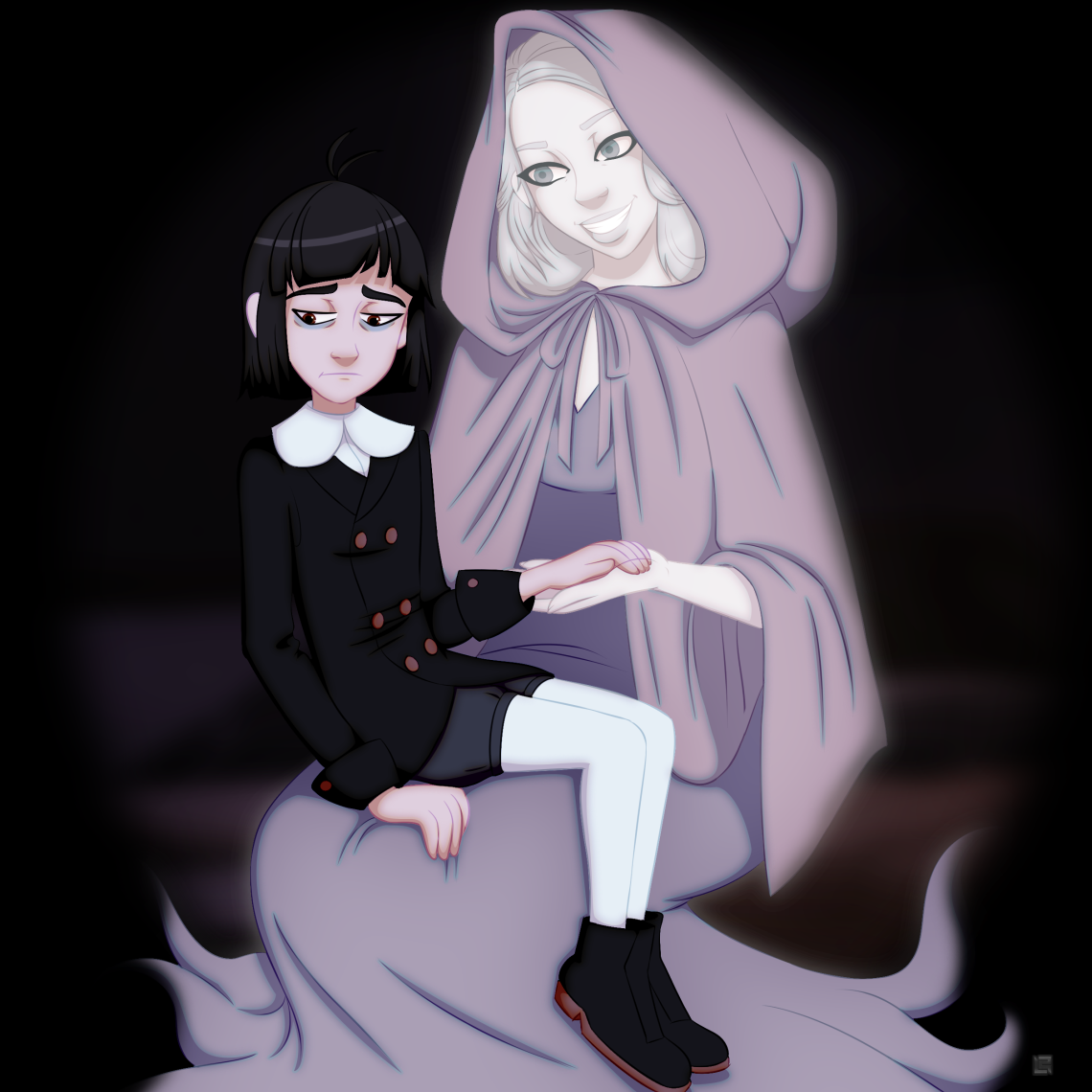 Digital art drawing of ghost mother and sad little boy