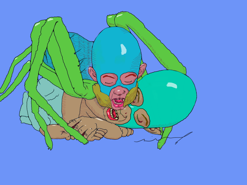 Drawing of two little spider boys wrestling and cuddling