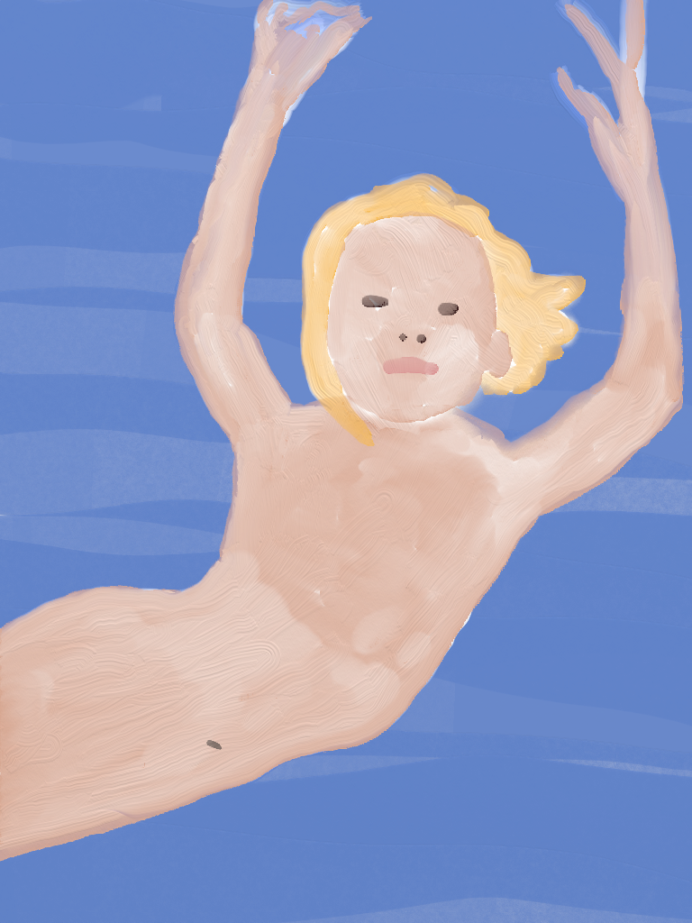 Painting of free and naked boy swimming in water