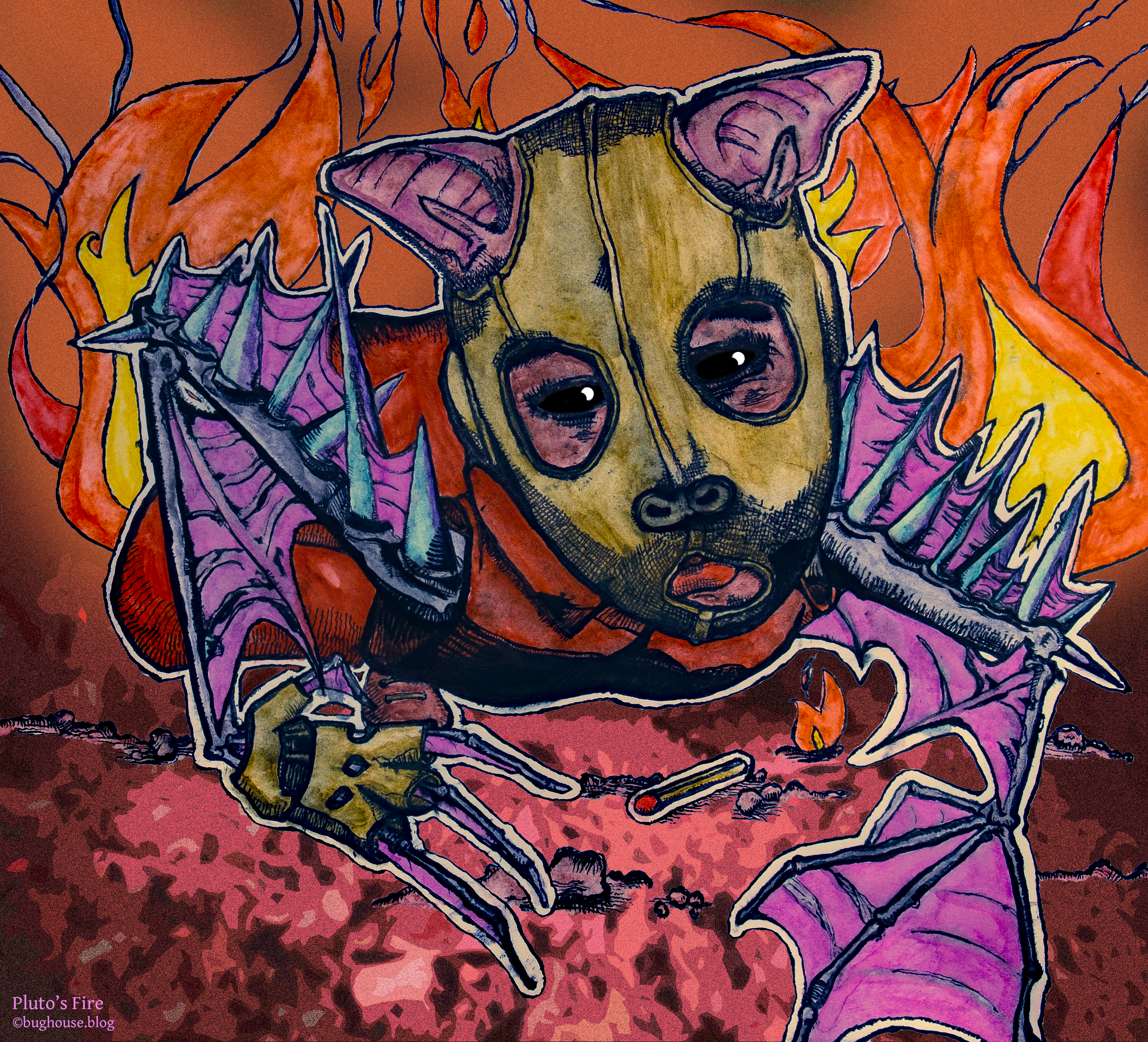 Drawing of creepy masked pyromaniac little bat boy, inspired by Pluto's Fire and The Ring Two