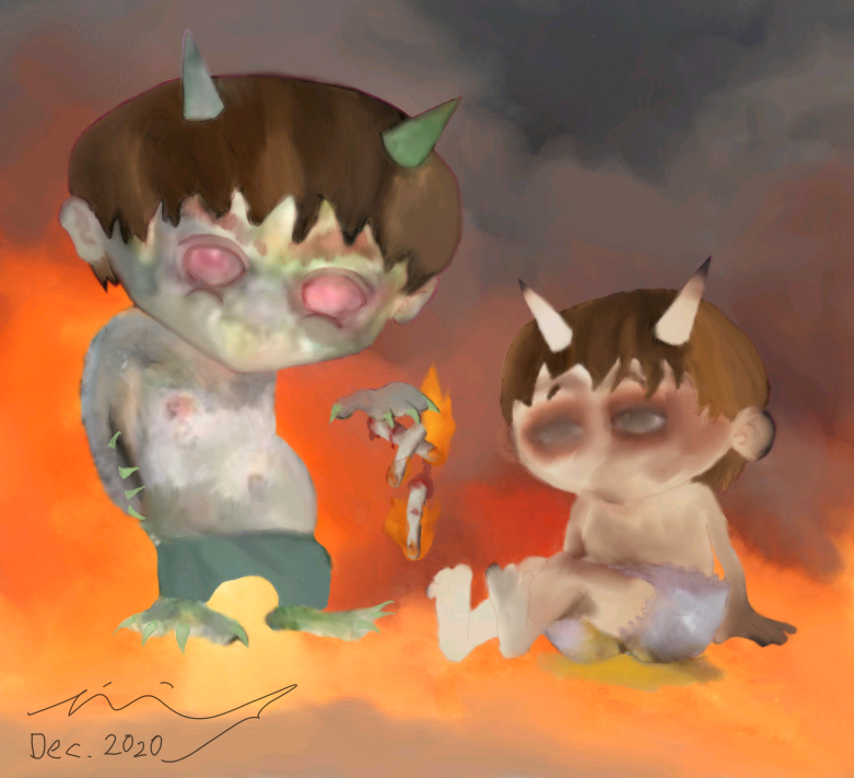 Drawing of two little pyromaniac goblin boys with burning fingers