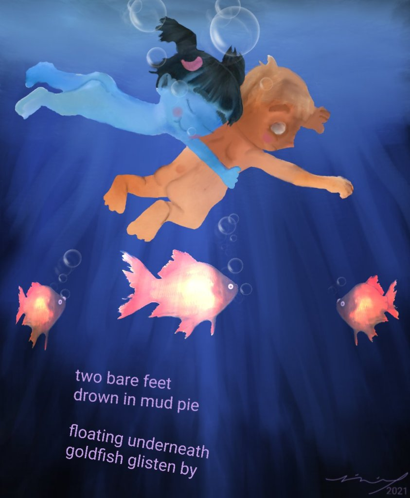 painting of naked little boy and blue little girl swimming underwater