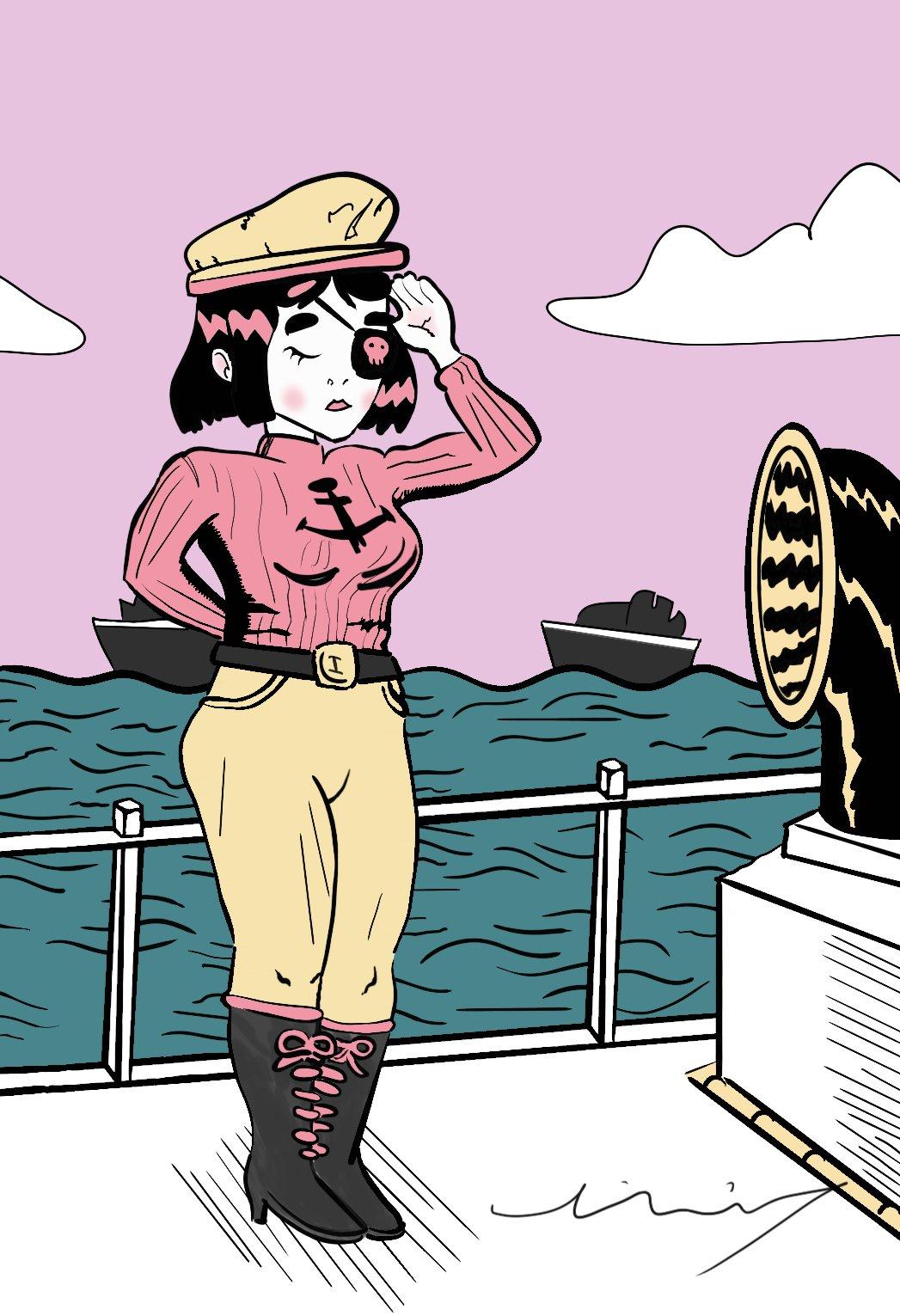 Fan art of Jasper Jubenvill's Dynamite Diva comic character on a boat at sea in navy costume