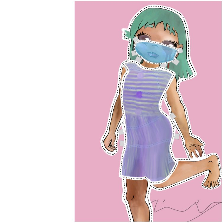 A Paper Doll little girl, with a Covid mask on her face, and crying blood